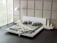 White-Platform-Bed-With-Night-Stands-Low-Bed-Frame-No-Boxpring-Needed-Contemporary