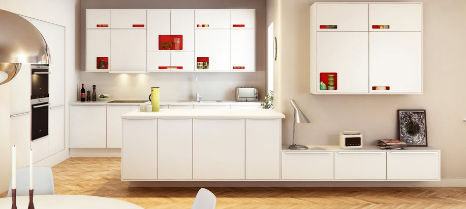 White-kichen-red-hardware-storage
