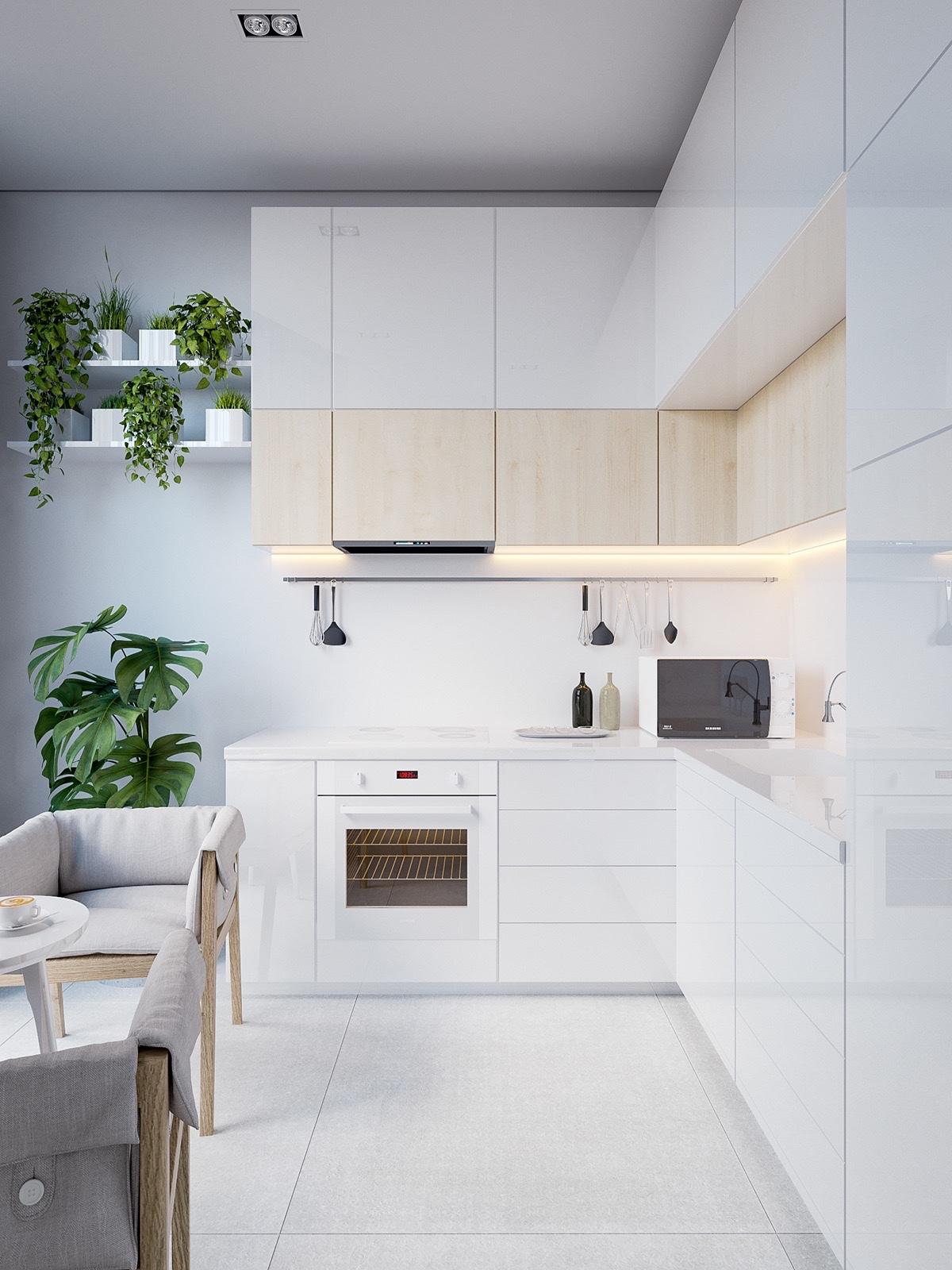 White-minimalist-kitchen-hanging-pot-plants