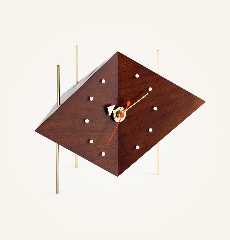Wooden-Mid-Century-Modern-Desk-Clock-Unusual-Shape-Diamond-Gold-Legs