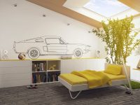 Yellow-car-themed-bedroom
