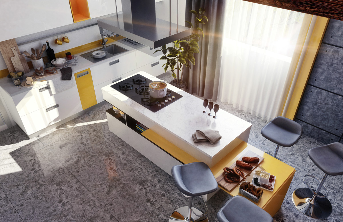 Yellow-white-kitchen-island-with-seating - Awesome Decors