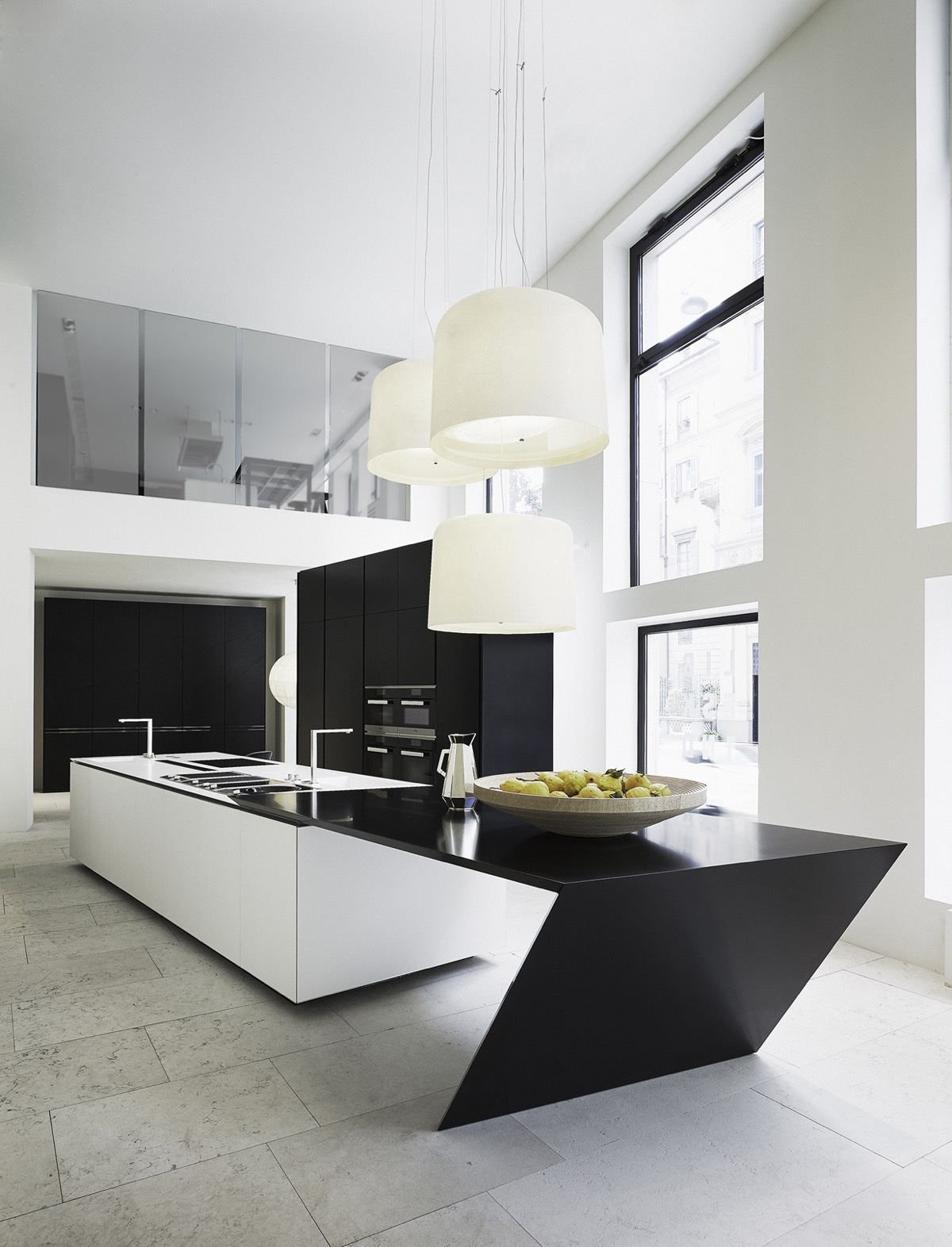 angled-black-and-white-kitchen-island