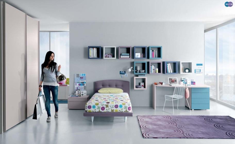 aqua-lavendar-white-Contemporary-Teenagers-Room