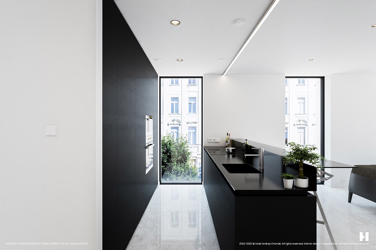 black-and-white-kitchen-with-marble-floor