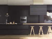 black-and-wood-kitchen-wooden-stools-and-bench
