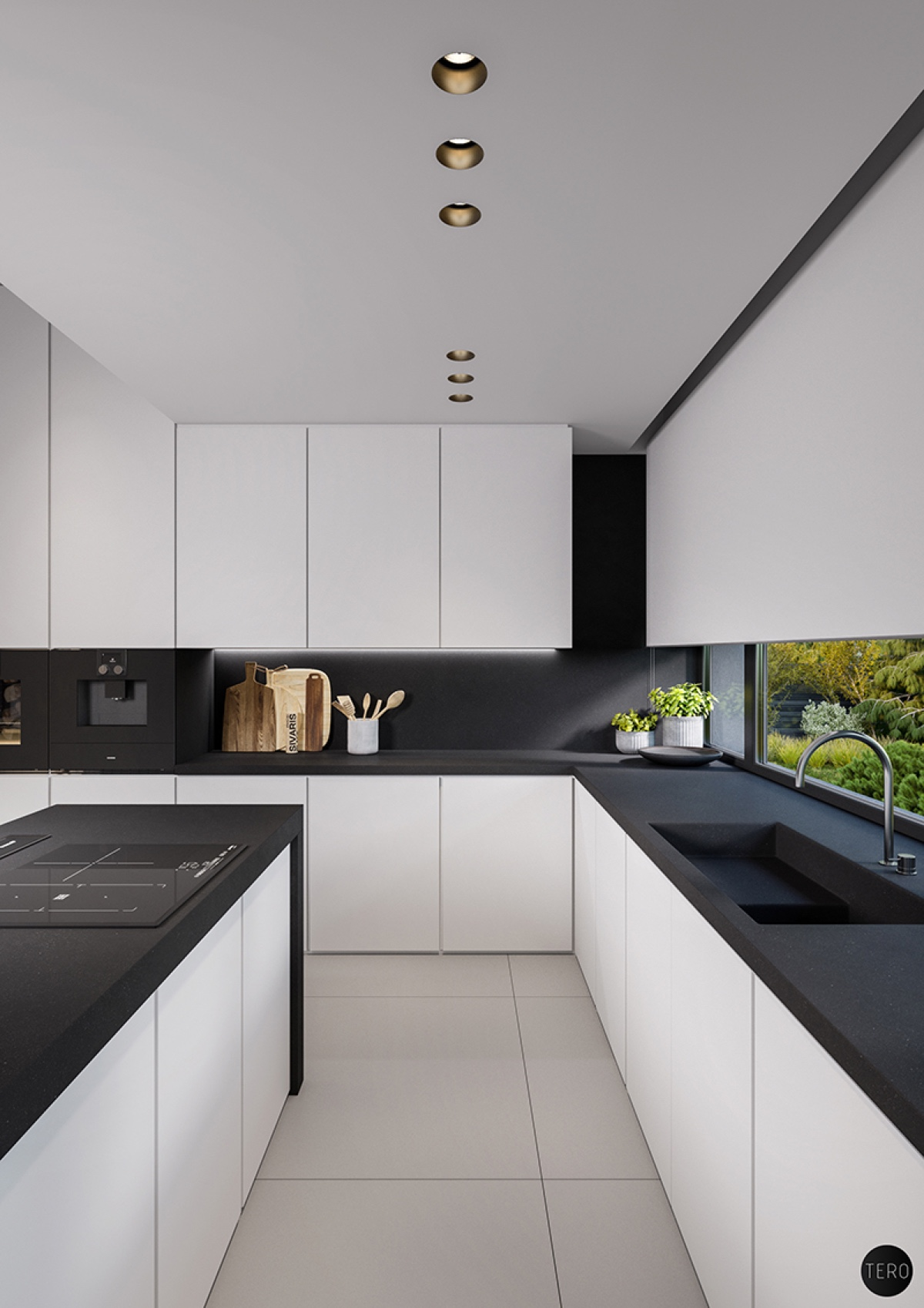 black-countertops-in-white-kitchen