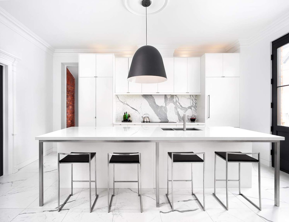 black-dome-lighting-marble-kitchen