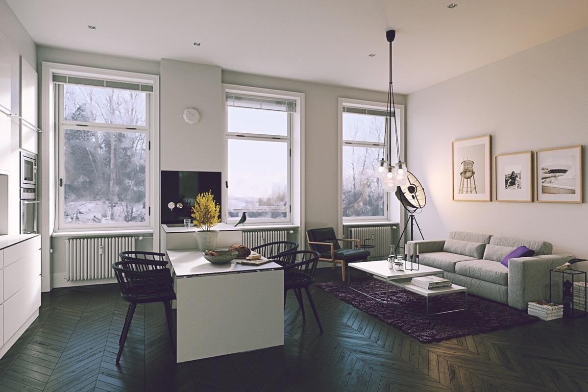 black-flooring-in-kitchen-living-dining-room