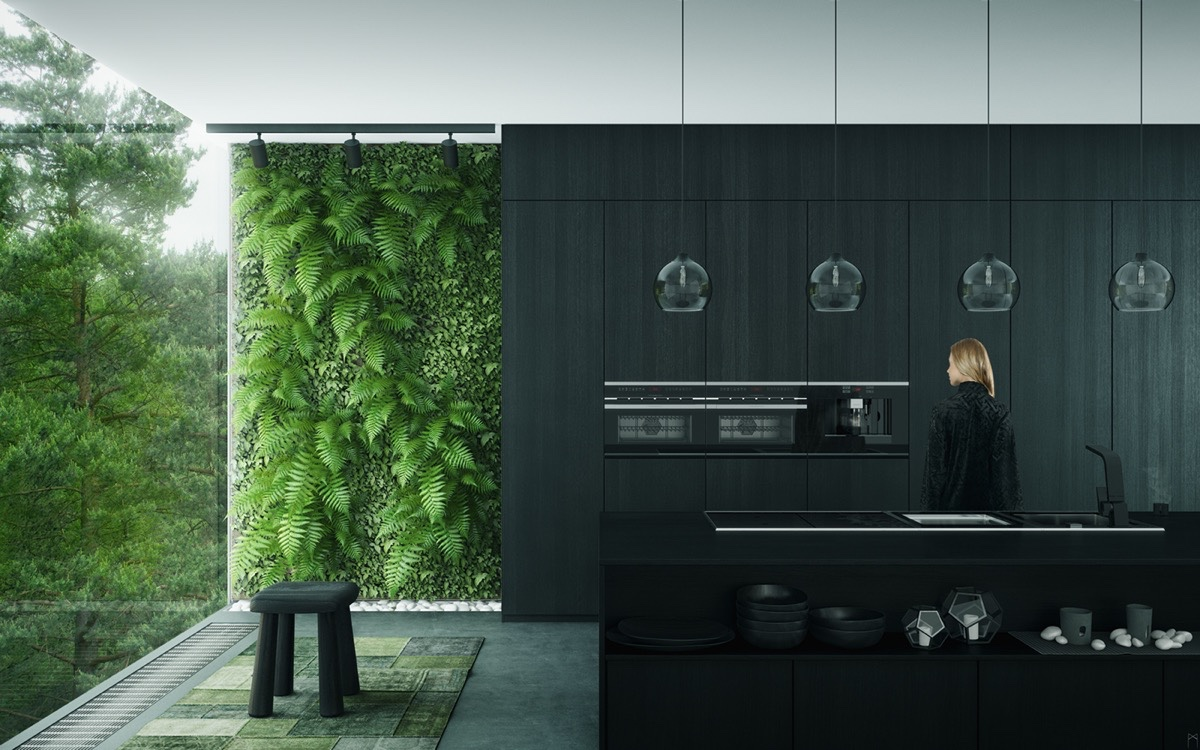 black-on-black-kitchen-with-vertical-garden