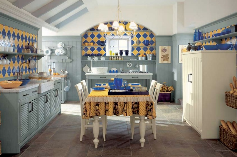 blue-and-yellow-tile-country-kitchen - Awesome Decors