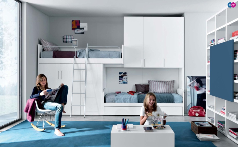 blue-white-Contemporary-Teenagers-Room