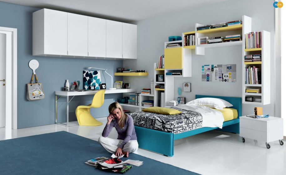 blue-yellow-white-Contemporary-Teenagers-Room