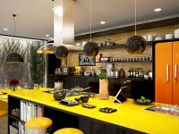 bright-yellow-and-orange-kitchen