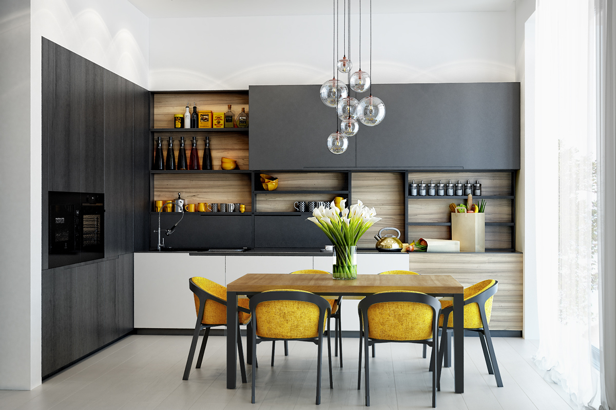 charcoal-and-mustard-kitchen-classy-open-shelving