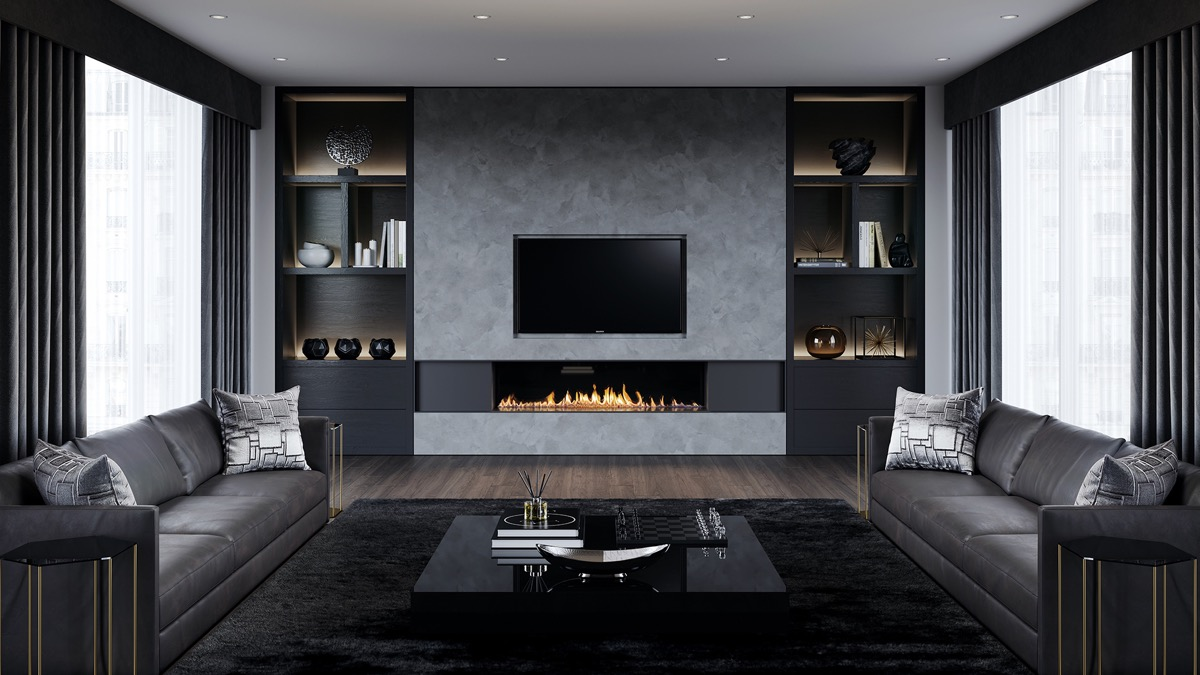 charcoal-leather-couches-roaring-fire-grey-living-room