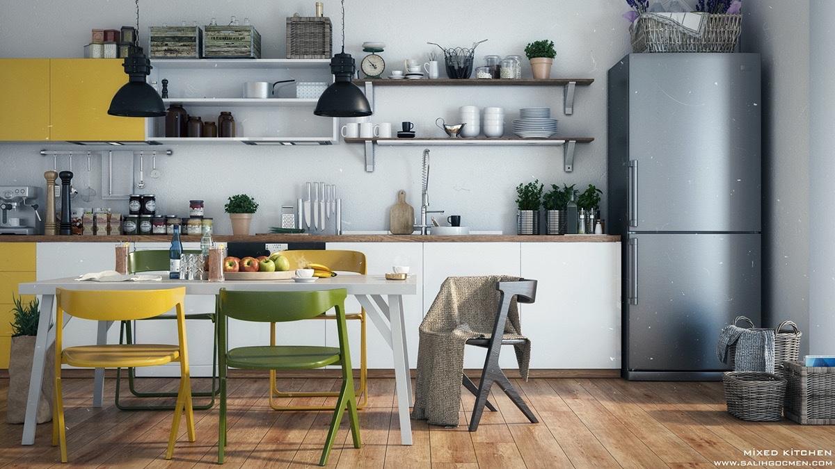 chrome-fridge-yellow-accents-Scandinavian-kitchen