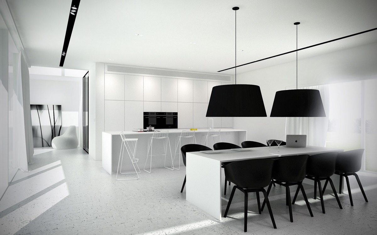 color-blocking-in-black-and-white-kitchen-dining-combination