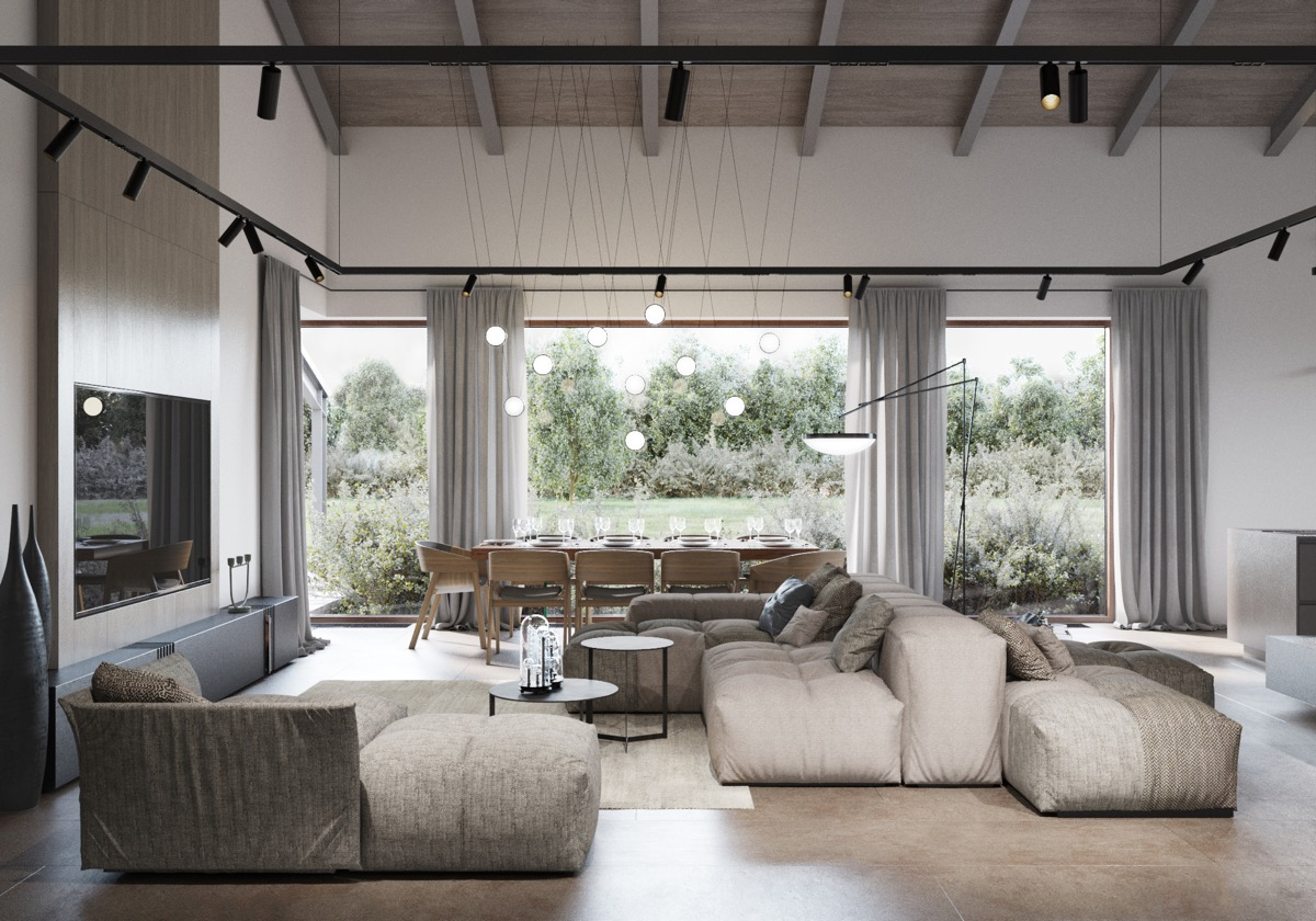 combination-living-and-dining-room-with-high-ceilings ...