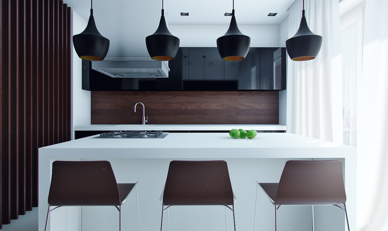 compact-modern-kitchen-with-eat-in-island - Awesome Decors