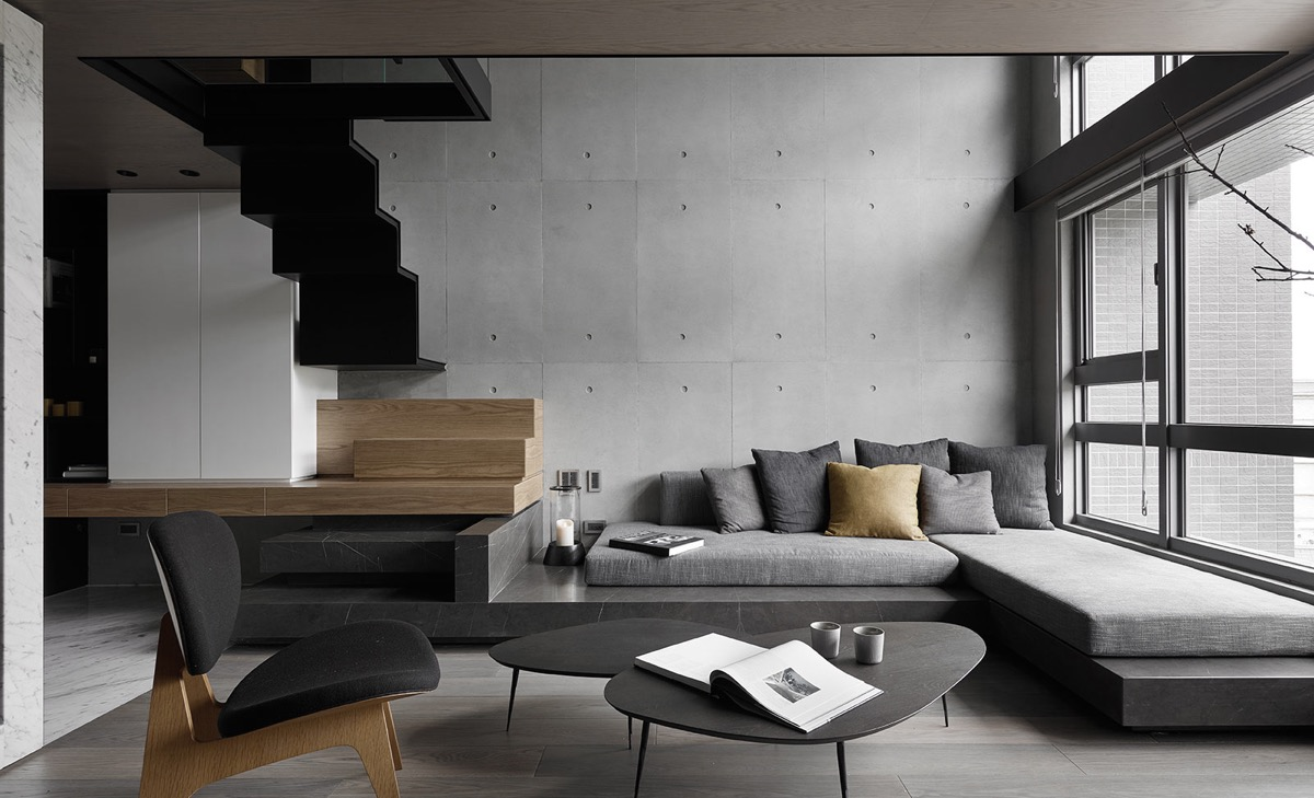 concrete-wall-zigzag-staircase-gray-color-schemes-living-room-1