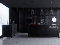 corrugated-iron-kitchen-all-black-central-white-clock