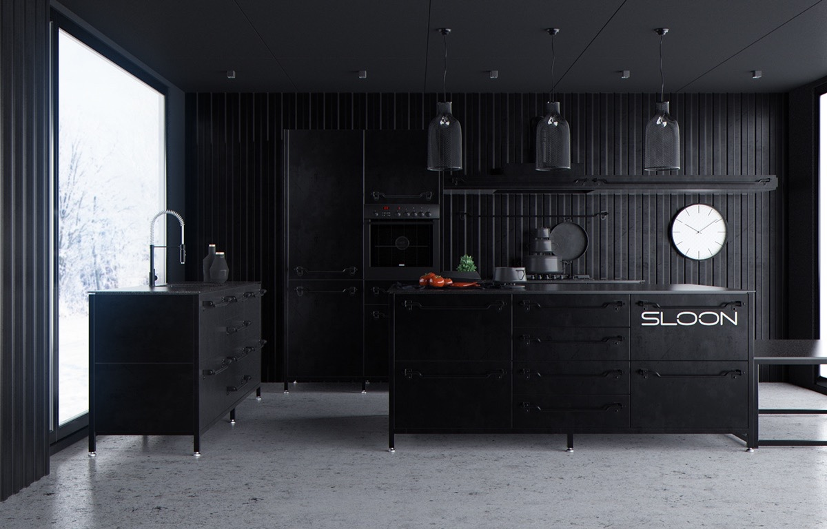 corrugated-iron-kitchen-all-black-central-white-clock