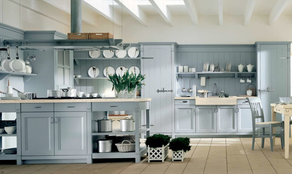 Country Kitchen Light Blue Open