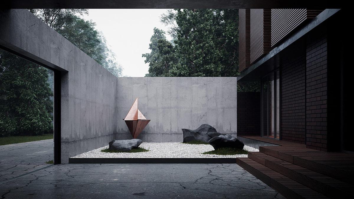 A Terraced Japanese Garden House Filled With Sculptural Art
