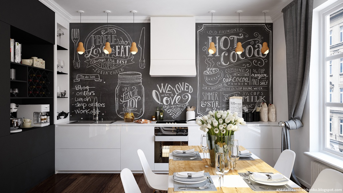 cute-black-and-white-chalkboard-wall-in-kitchen
