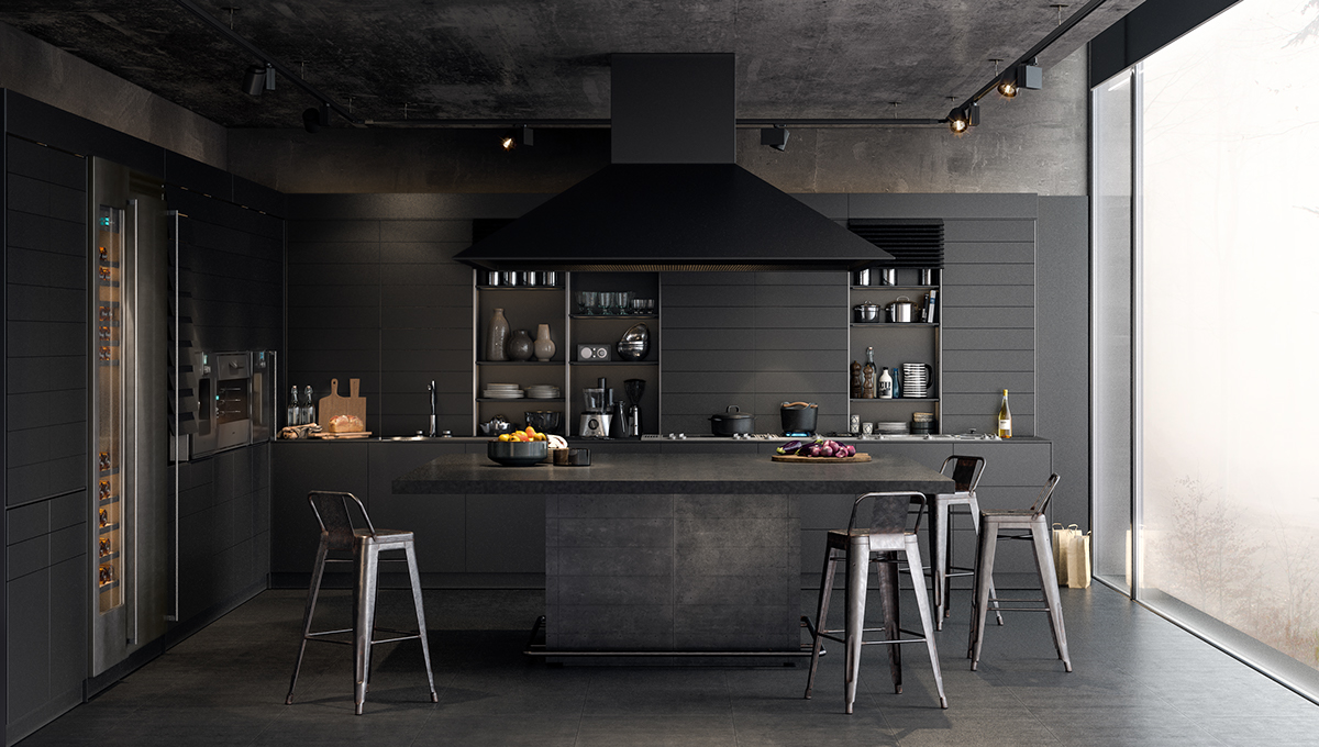 dark-kitchen-charcoal-painted-wood-muted-open-shelves