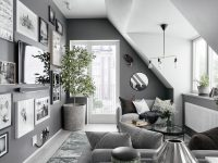 different-hanging-frames-round-mirror-grey-sofa-living-room-ideas