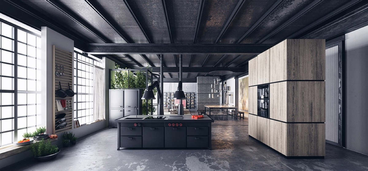 distressed-floor-large-wooden-cabinet-railroad-track-ceilings-black-kitchen
