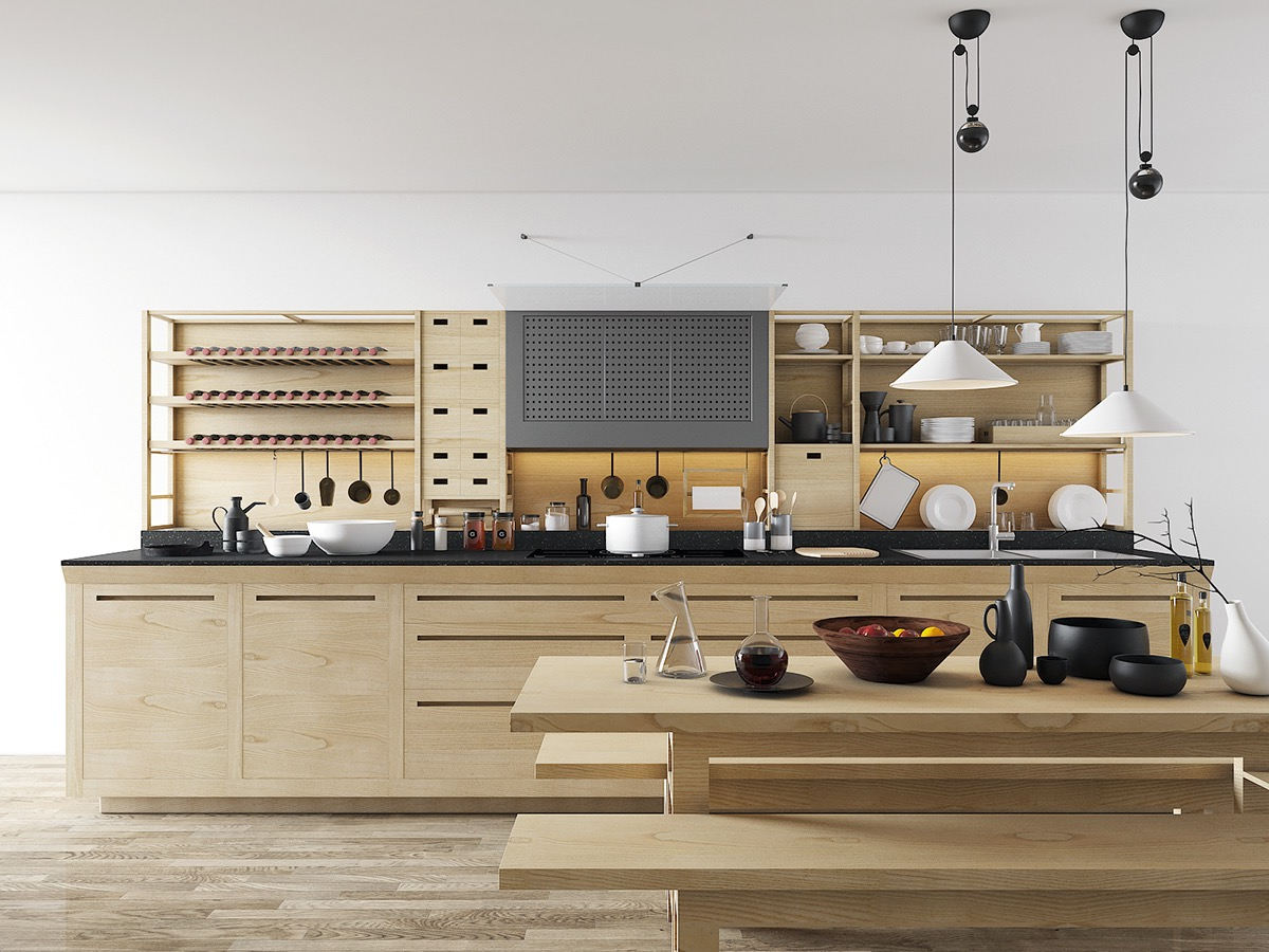 eclectic-kitchen-white-and-wood-open-shelving