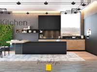 engraved-kitchen-stone-coloured-walls-black-cabinetry-potted-plants