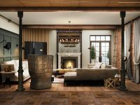 exposed-brick-high-chairs-rustic-rugs-for-living-room