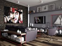 exposed-brick-wall-large-face-painting-grey-colour-schemes-for-living-rooms-1