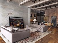 exposed-ceiling-beams-abstract-rug-rustic-lamps-for-living-room