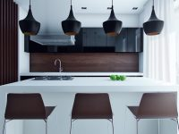 flared-black-kitchen-pendants