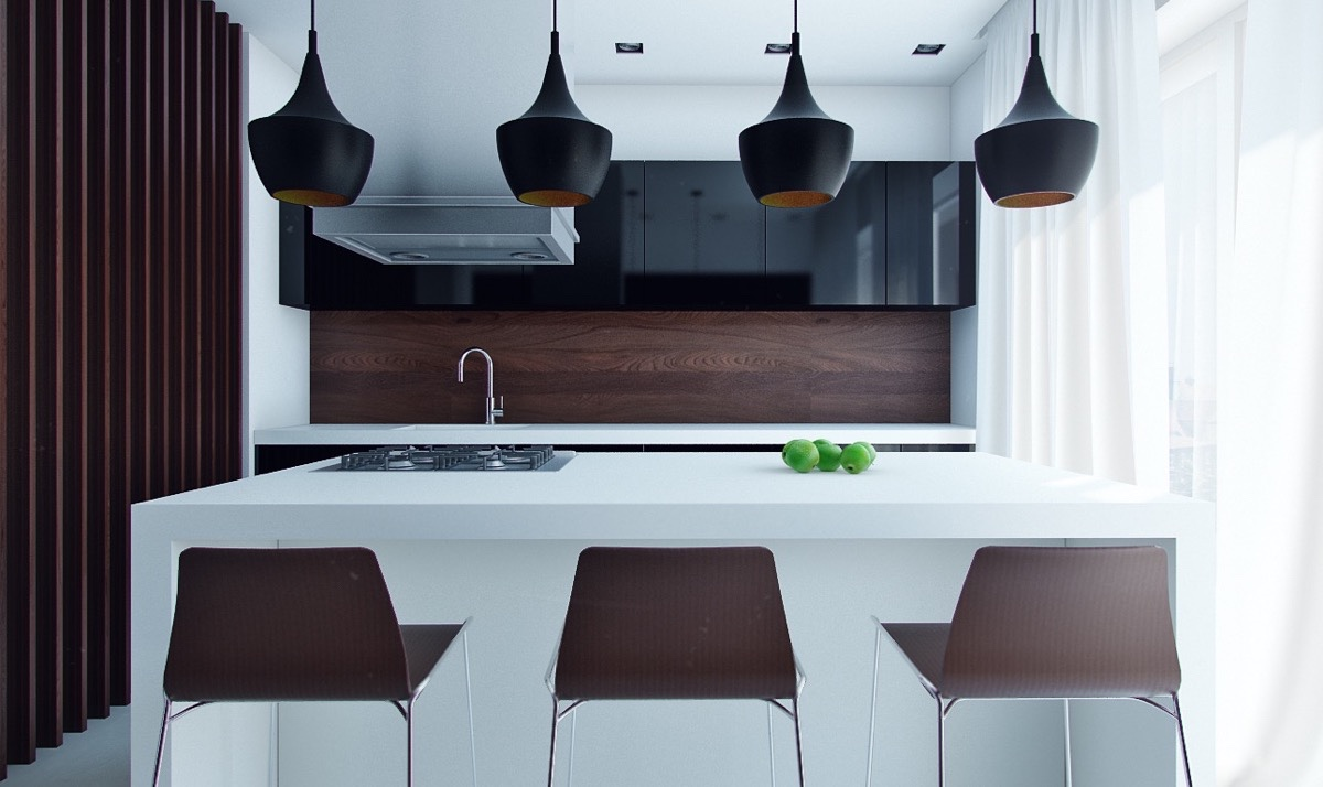 Flared black kitchen pendants awesome decors
