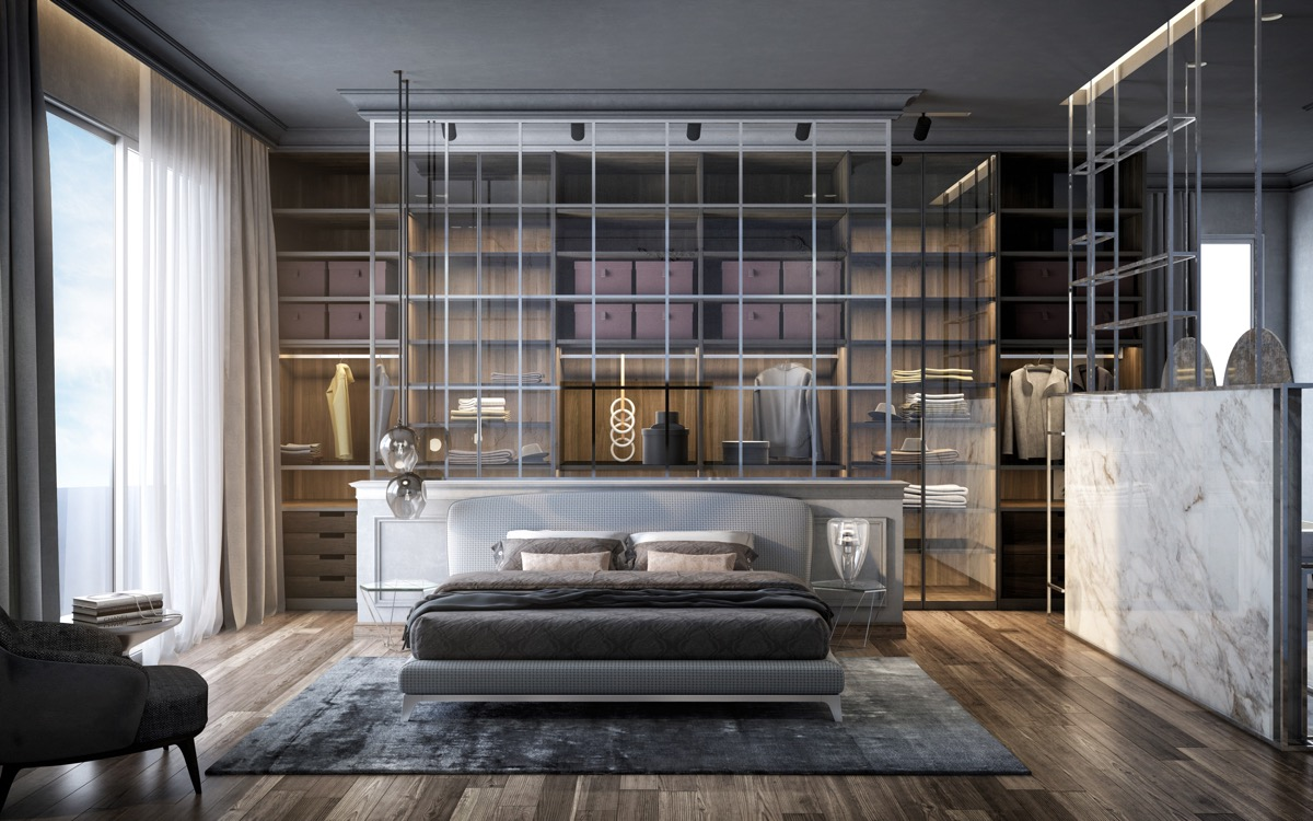 glass-and-marble-master-bedroom-with-glass-walk-in-closet-and-dark-brown-wood