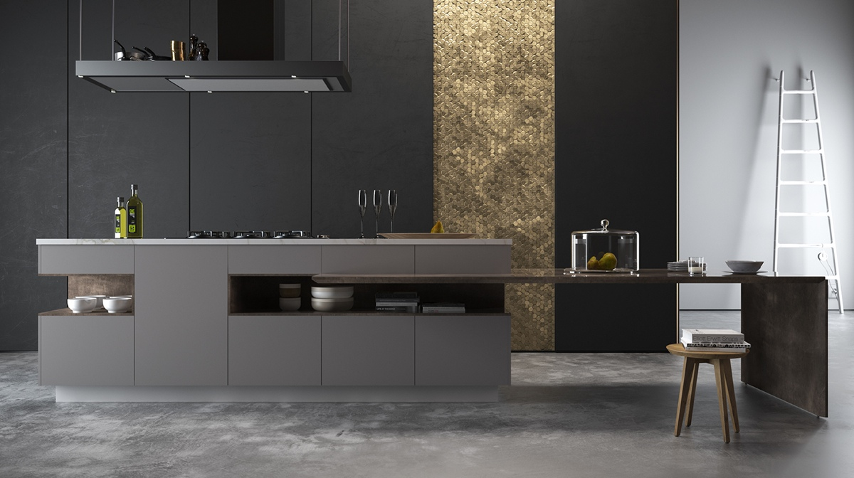 gold-panel-kitchen-black-cabinetry-grey-benchtop