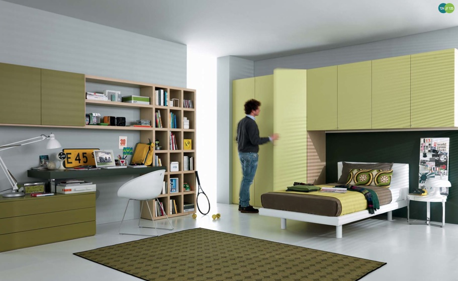 green-Contemporary-Teenagers-Room