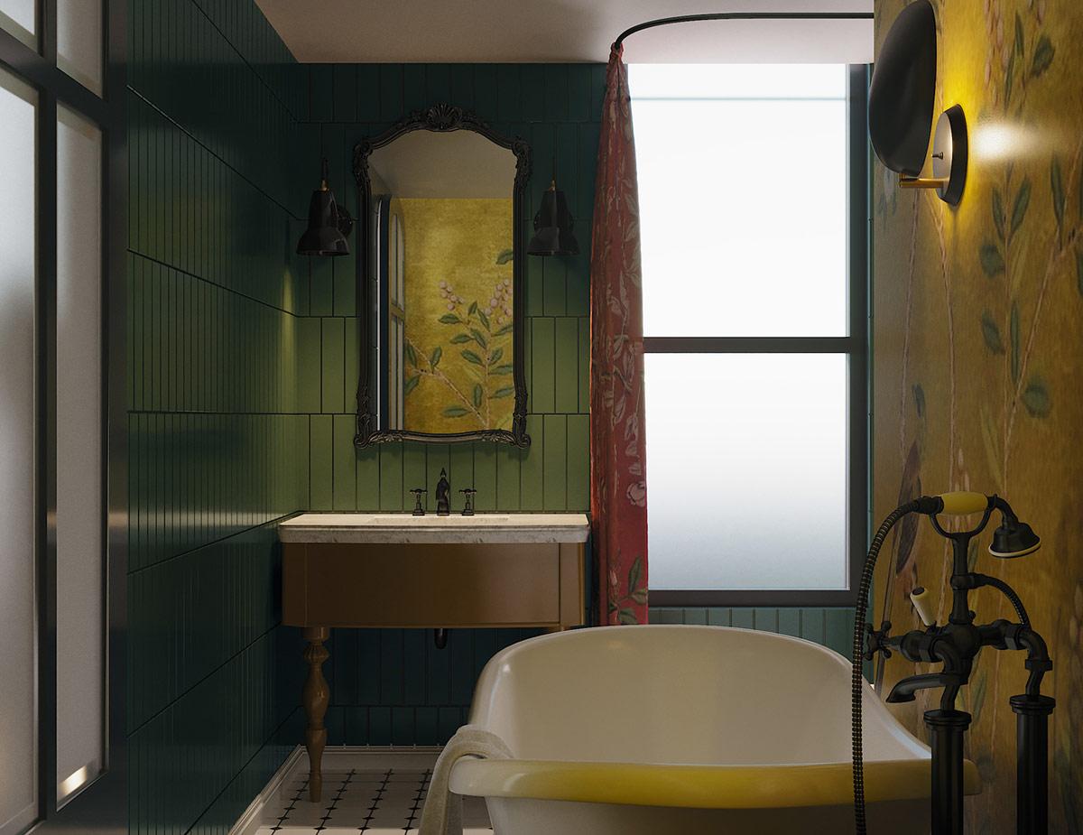 green-and-yellow-bathroom