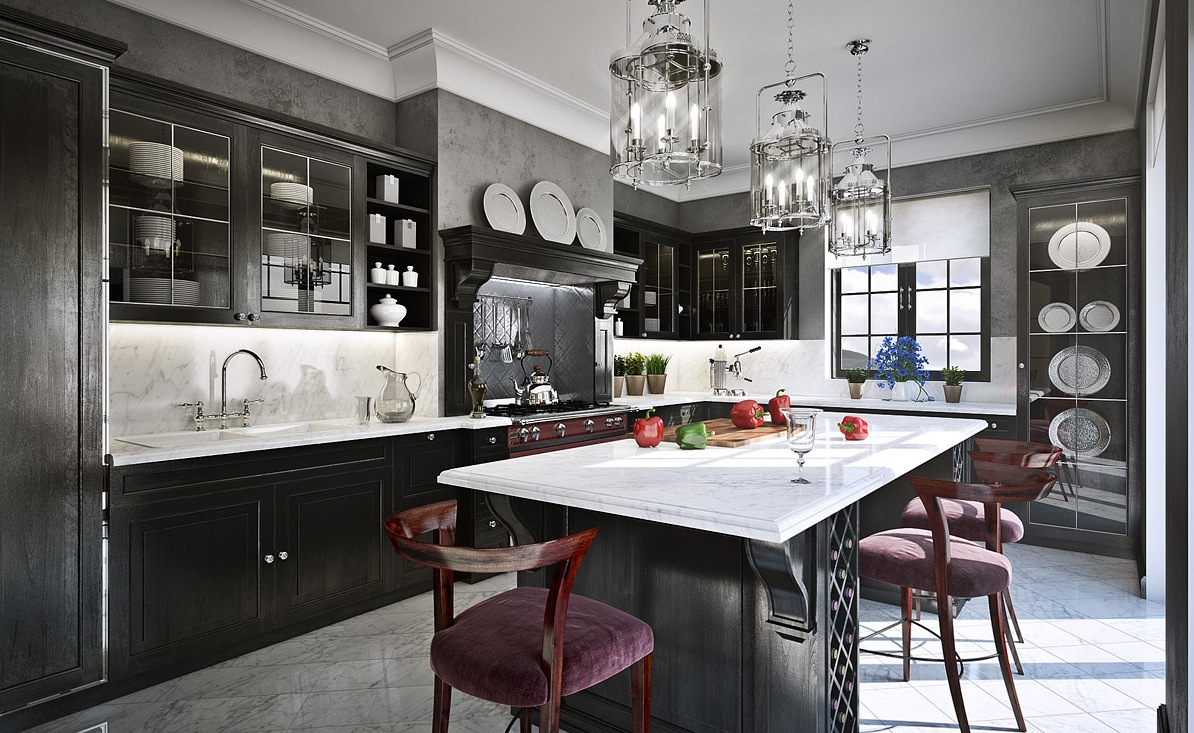 grey-and-black-traditional-kitchen