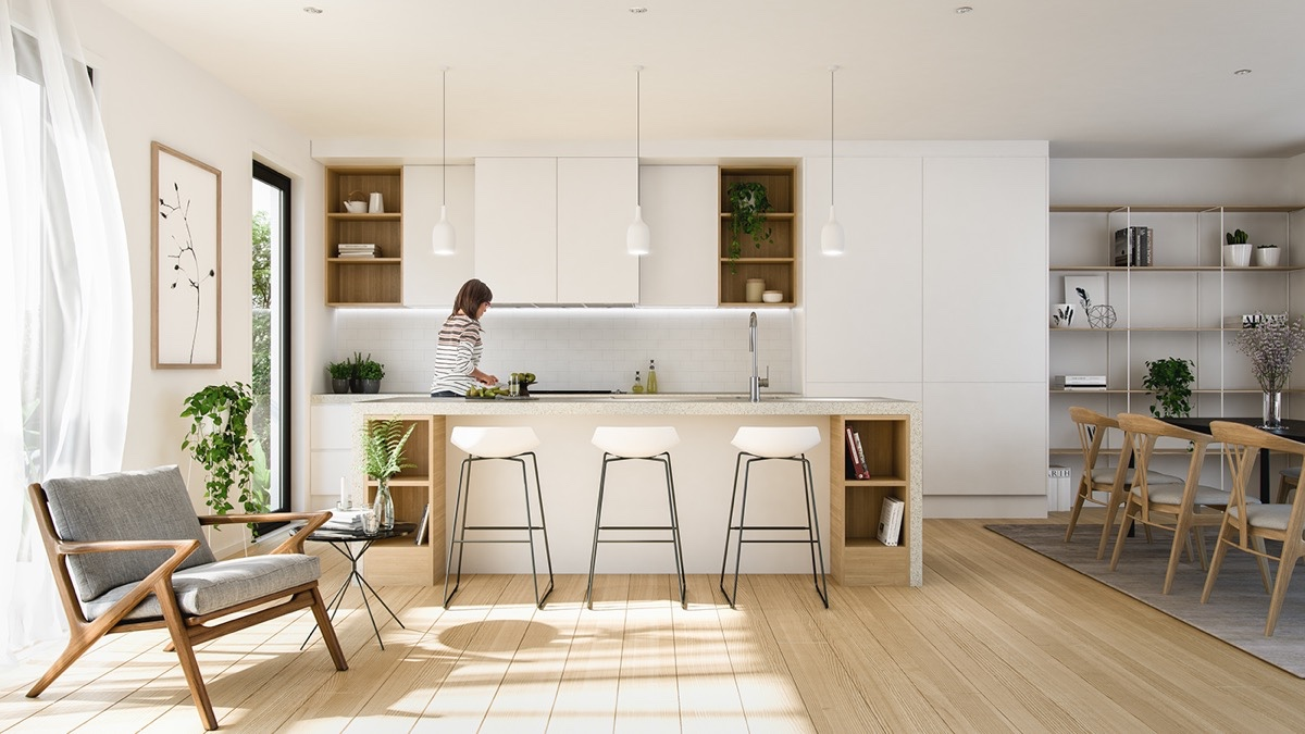 grey-and-light-wood-Scandinavian-kitchen