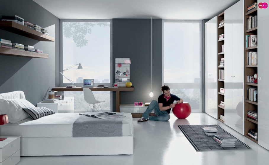 grey-white-Contemporary-Teenagers-Room