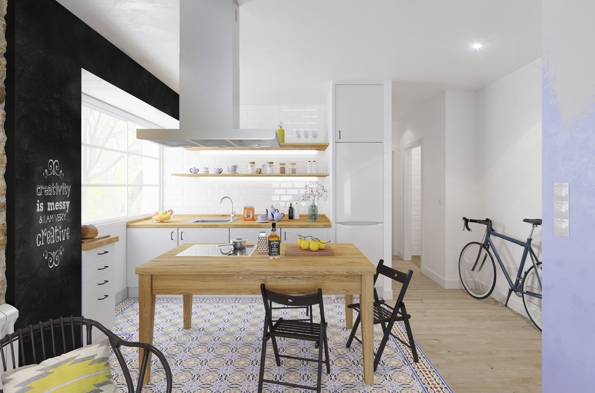 hipster-kitchen-black-bicycle-simple-wooden-open-shelving
