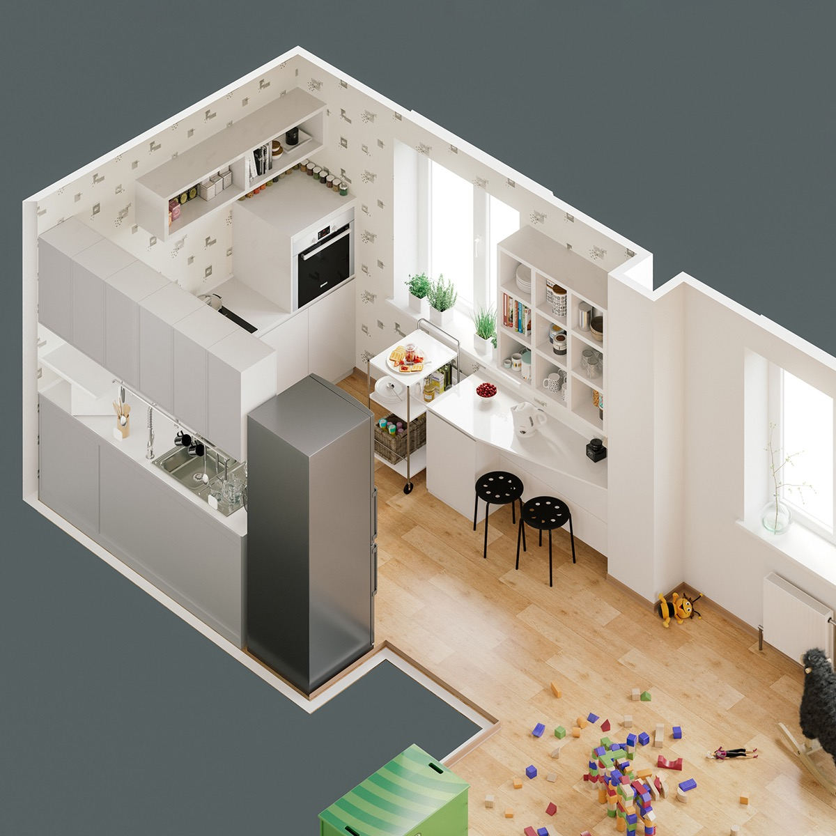 house-plan-showing-kitchen-Scandinavian