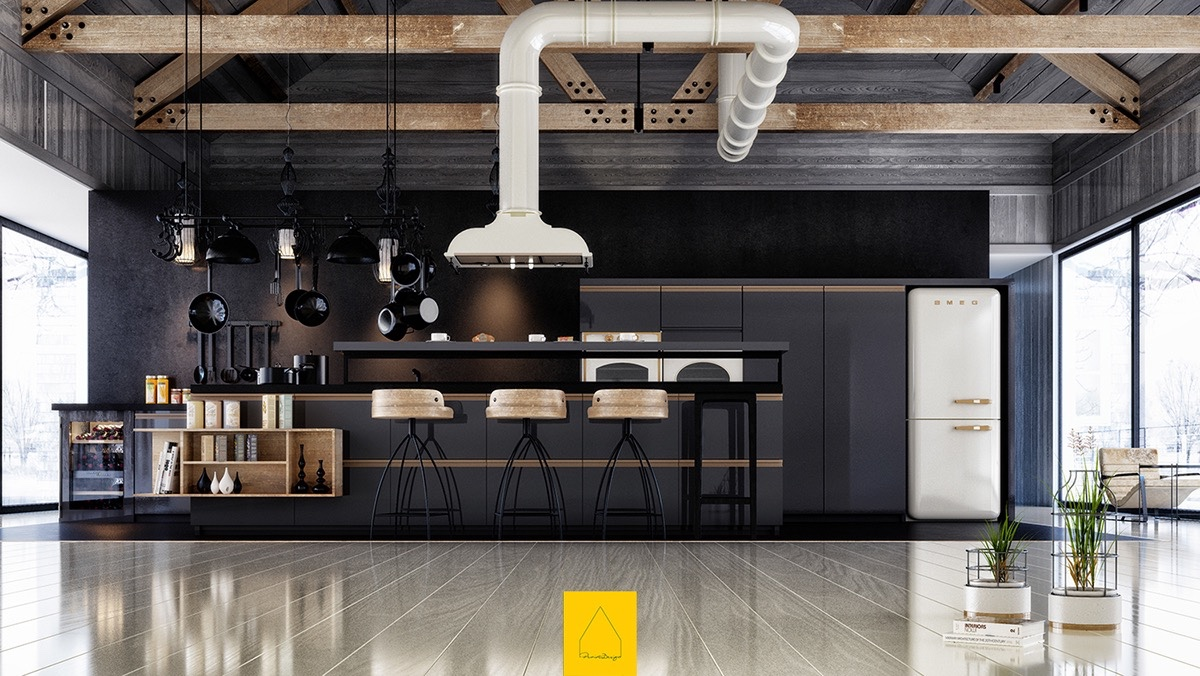 industrial-black-kitchen-white-feature-extractor-fan-polished-wooden-floors-black-matte-focus